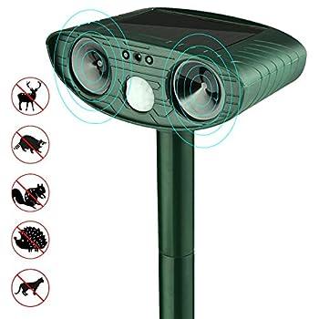 BoRui Solar Ultrasonic Dog Cat Repeller Extérieur étanche à la batterie PIR Cat, Fox, souris, antiparasitaire Deterride Scarer - Motion Sensor