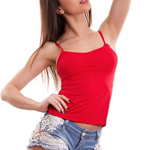 Toocool - Canottiera donna canotta rossa intimo liscio fiore basic sexy nuova ED1090000 Rosso