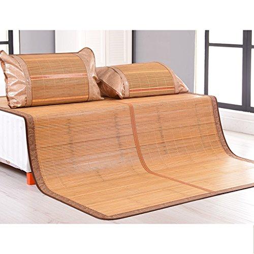 Liuyu · La première couche de tapis vert de bambou de bambou Tapis pliable exquis double sans bavure 1.5/1.8 mètres de lit de bambou de lit fin ponçant, doux et sensible doux pour la peau