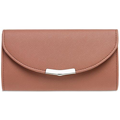 CASPAR TA360 Bolso de Mano Fiesta Elegante para Mujer/Clutch con Cadena Larga, Color:rojo viejo;Tamaño:Talla Única
