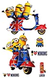 Unbekannt 6 TLG. Set _ XL Fensterbilder -  Minion - Ich einfach unverbesserlich / auf Einem Roller - Scooter - Great Britain  - incl. Name - Sticker Fenstersticker Au..