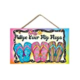 prz0vprz0v New Bright & Fun Wipe Your Flip Flops Sign Coastal Plaque Tropical Picture,Pink, Blue, Purple, Yellow,9