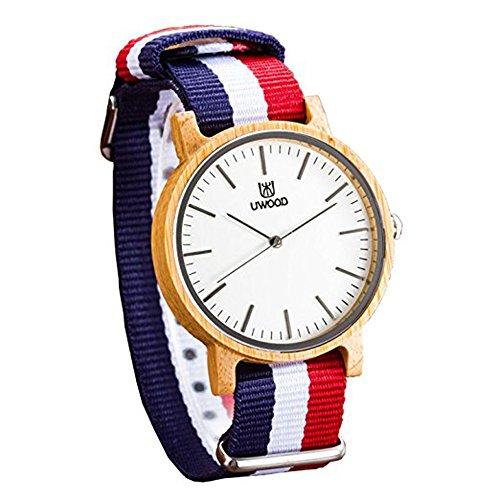 Mujuze Unisex Analog Quartz Bambus Uhren Mit Nylon Rot Gestreiftes