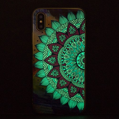 Cover iphone X Custodia iphone X / 10 Silicone Anfire Morbido Flessibile Gel TPU Case per apple iphone X (5.8 pollici) Ultra Sottile Fluorescente Shell Antiurto Luminosa al Buio Copertura LED Lampeggi Gufo