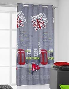 140x245 grau rot grün weiß Vorhang Vorhänge Ösenschal Fensterdekoration Gardine Blickdicht London Pop Art grey red green white United