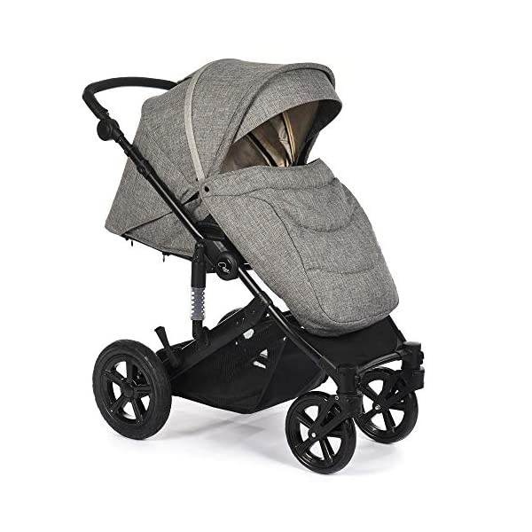 Roma Moda Pram, Includes Carry Cot, Rain Cover, Cup Holder and Bag - Grey Roma Suitable from newborn - 15kg - Raised backrest in the carry cot Lightweight aluminium frame - All round suspension - Easy fold All terrain tyres (rear air tyres and front foam tyres) Large hood with viewing window 7