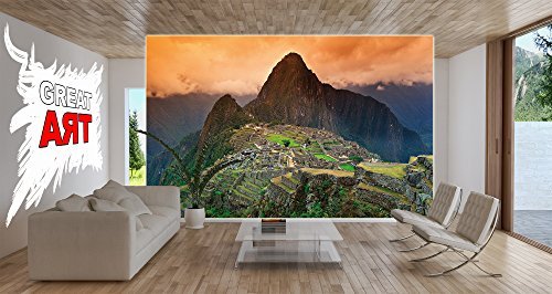 Poster Machu Piccu Wandbild Dekoration Südamerika Peru Sehenswürdigkeiten Inka Stadt Ruine UNESCO Welterbe Kulturlandschaft | Wandposter Fotoposter Wanddeko Wandgestaltung by GREAT ART (140 x 100 cm) - 4