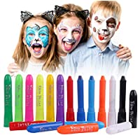 Luxbon 12 Colors Face Paint Crayons for Kids, Non-Toxic Face Body Painting Kit, Washable Face Paint Sticks Set, Ideal for Face and Body Painting, Makeup Cosplay Parties