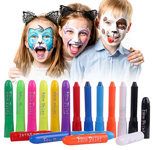 Luxbon 12 Farben Gesicht Malen Buntstifte Kinderschminke Set - Kinder Sicher Ungiftig Drehbar Waschbar - für DIY Cosplay Mottopartys (Körper Dem Halloween Auf Malen)
