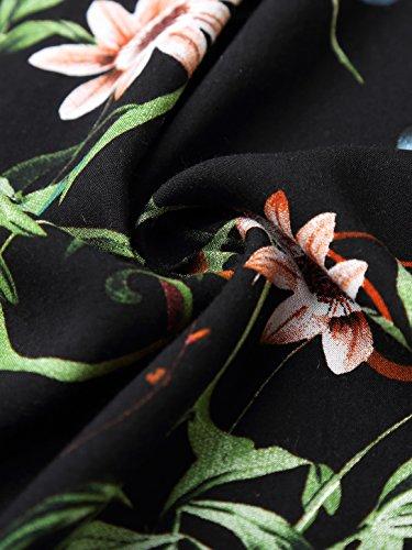 Slivexy Damen Blumen Sommer Pumphose Haremshose Lange Hose Schwarz-2
