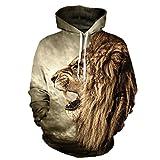 Caladele Lion alten Digital gedruckten Männer Frauen mit Kapuze Sportswear Hoodies Cap Windbreaker Jacke 3D-Sweatshirts S