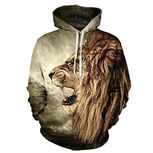 Kapuze Ohne Sweatshirt Jordan (Caladele Lion alten Digital gedruckten Männer Frauen mit Kapuze Sportswear Hoodies Cap Windbreaker Jacke 3D-Sweatshirts S)