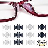 Rutschfeste Nasenpads, 12 Paar 2,5 mm 1,8 mm Non-slip Silicone Nose Pads Adhesive für Brillen Sonnenbrille Lesebrille Pads, Schwarz + Transparent