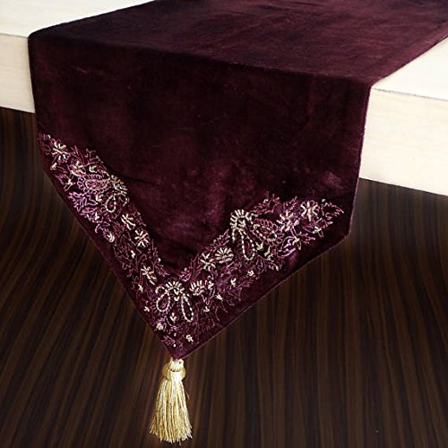 The HomeCentric Red Table Runners 35 x 180 cm, Burundy Velvet with Bead & Sequin Hand Embroidery Table Runner, with Gold Tassles, Wedding Decor Elegant Table Linen