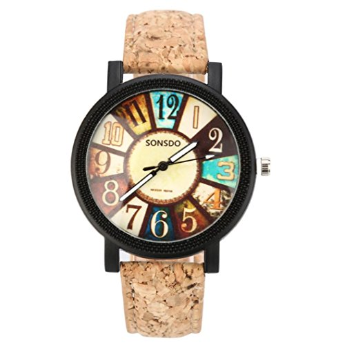 Armbanduhr Damen Uhr Xinnantime Graffiti Muster Leder Band Vogue Analoge Quarz Damenuhr Frauen Bunte (Standaed, One)