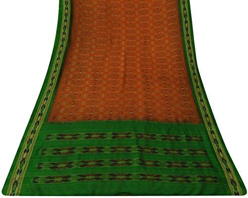Ethnischen indischen Vintage-Sari Reines Patola Silk Art Printed orange Saree Gebrauchte 5YD Art Silk Sari Saree