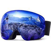 1b4d9a32e2 Elegear Ski Gafas Snowboard Gafas Esquí Gafas esquí Hombre OTG Montura  Entera Campo Visual Máximo Lentes