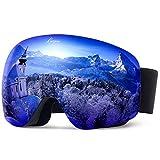 Elegear Anti-Fog Skibrille Verspiegelt Ski Goggles für Herren Damen Jugendliche Erwachsene Anti-Nebel Schneebrille sphärischer Dual-Linse für Schneemobil, Skifahren, Skaten Wintersportarten - Blau
