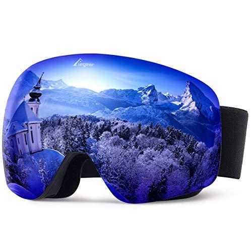 06cb53b67f Elegear Ski Gafas Snowboard Gafas Esquí Gafas esquí Hombre OTG Montura  Entera Campo Visual Máximo Lentes