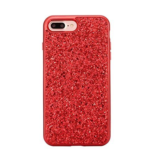 iPhone 7 Plus Coque,iPhone 7 Plus Housse en Silicone,JAWSEU Placage Luxe Fashion Brillante Mirior Tpu Case Cover,iPhone 7 Plus Cristal Clair Ultra Mince Flex Soft Gel Bumper housse Etui de Protection, rouge/2 en 1