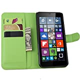 Tasche für Nokia Microsoft Lumia 640 XL Dual-SIM Hülle, Ycloud PU Ledertasche Flip Cover Wallet Case Handyhülle mit Stand Function Credit Card Slots Bookstyle Purse Design grün