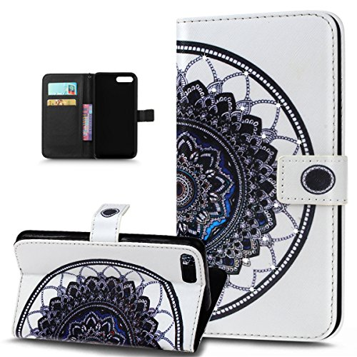 Custodia iPhone 7 Plus, iPhone 7 Plus Cover, ikasus® iPhone 7 Plus Custodia Cover [PU Leather] [Shock-Absorption] Colorato verniciato con Bling Brillante scintillante Gitter Strass Protettiva Portafog Mandala