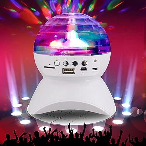 Altavoz portátil inalámbrico Bluetooth 4.0 con efecto LED luces disco giratorio, lectura directa de su música en MP3 vía Bluetooth, microSD, conector o USB. Función de radio FM. Manual completo en Inglés. BLANCO.