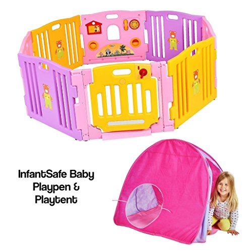infantsafe Plastic Baby Playpen w/ Play Tent - FREE From Harmful Materials - Fits Perfectly Inside The Play Pen for Babies and Toddler