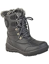 6295f5c238280 LADIES WOMENS FLAT WARM FUR LINED GRIP SOLE WINTER SNOW ANKLE BOOTS SHOES  SIZE