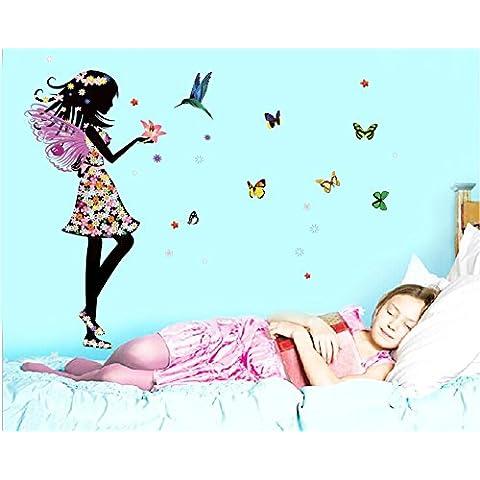 Vinilo adhesivo de pared reutilizable, diseño de ángel y mariposas