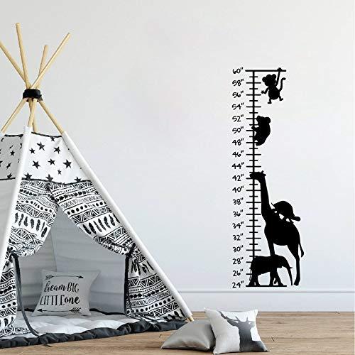 hllhpc Peel and Stick Safari Wachstumstabelle Wandkunst Aufkleber Wachstumstabelle Vinyl Wandkunst Aufkleber Wandhaupt Kinderzimmer Kinderzimmer Wand 94 * 31 cm
