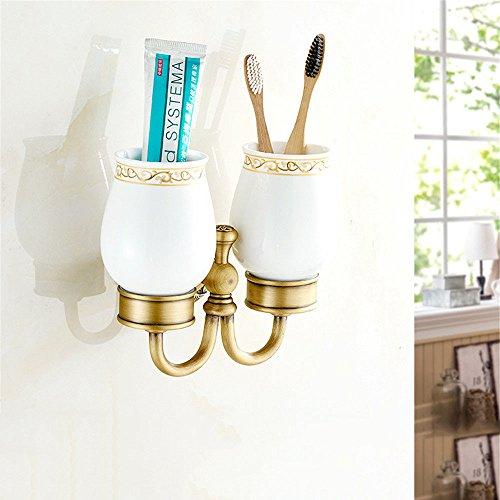 Alle Kupfer antik Badewanne Handtuchhalter Hotel integrierte Regal hängen im Badezimmer Hardware Kit, Zahnbürste Becher (Hotel Regal-kit)