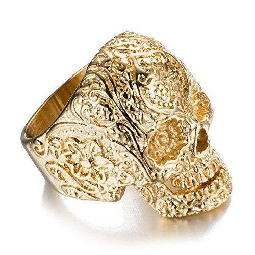 AUMRET Halloween Titan Stahl Männer Persönlichkeit Schädel Gold Ring (8) - Schädel-ringe-titan