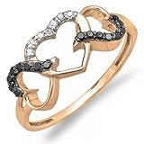DazzlingRock Collection 0,15Carat (quilate) 18K Oro Blanco y Negro Diamante Tres...