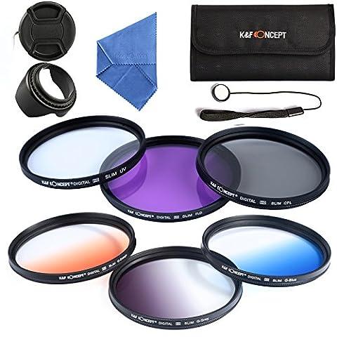 K&F Concept Filter Objectif 62mm Filtre Photo Kit Accessoires Objectif pour Sigma Tamron Sony Alpha A57 A77 A65 - Comprend Kit de Filtres (UV + CPL + FLD, Couleur Gradué Bleu, Orange, Gris)+ Chiffon de Nettoyage en Microfibre + Pare-soleil Tulipe+ Bouchons d'objectif Snap-On avec laisse de bouchon garde + Pochette