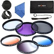 K&F Concept® Objektiv Filter Set 62mm UV Filter CPL Filter FLD Filter Verlaufsfilter Set 62mm Orange Blau Grau mit Gegenlichtblende 62mm objektivkappe Objektivkappenhalter Reinigungstuch und Filtertasche