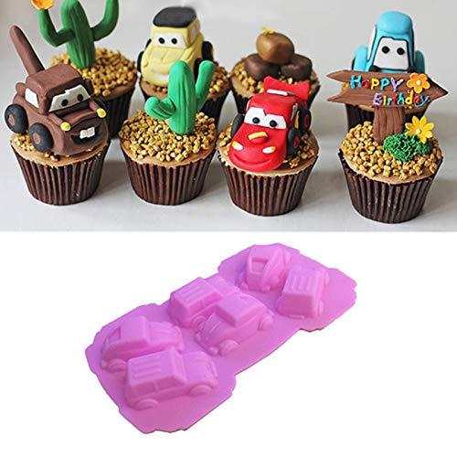 Stampo da forno in silicone per auto, fai da te, per caramelle e torte 6 holes rosa