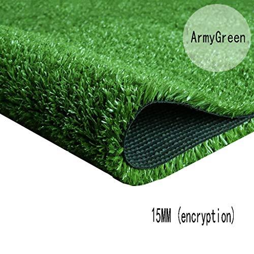 XEWNEG 15MM Grüner Synthetischer Rasen, Verschlüsselungs-Simulations-Plastikteppich-Matte, Wasserdicht, Verwendbar for Kindergarten/Garten/Außendekoration (Size : 2x5M)