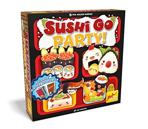 """La versión grande del exitoso juego de naipes """"Sushi Go"""", con más opciones, más variedad, más sushi. De 2a 8 jugadores, a partir de 8 años. Idiomas: D. (idioma español no garantizado)."""