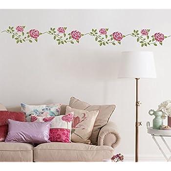 Vintage Rose Bordüre Schablonen wiederverwendbar Wanddekoration ...