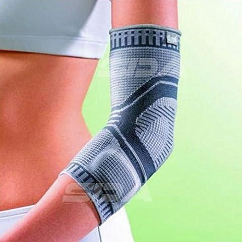 SDA accutex Silikon Gepolsterte bi-lateral Ellenbogen Compression Unterstützung Sleeve von Oppo–Multi Kompression Level 3D-Weave Perfekte Passform Ellenbogen-Bandage–Gemeinsame Stabilität/muskuläre Leistung Korsett/RSI/Sehnen & Gelenke Schwäche/zum Wiederherstellen Verletzungen/Arthritis Relief/Sport Bandage, L --- (25 - (8 Extended Range)