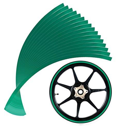 Andux Zone 10mm reflektierendes Räder Klebeband Rad Streifen Abziehbild Ordnung für Motorrad Räder 14-16inch QCFGT-01 (grün)