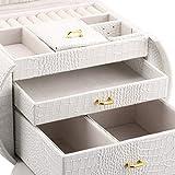 Finether-Joyero-BloqueableCaja-para-joyasEstuche-Arqueado-para-Guardar-Joyas-Pendientes-Anillos-Collares-Espejo-y-Cajones-Textura-de-Cuero-de-Cocodrilo-Tapa-ElevableBlanco