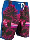 GUGGEN Mountain Herren Badeshorts Beachshorts Boardshorts Badehose Schwimmhose Männer mit Palmen *Print* Rosa Blau S
