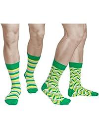 7cd150b64c8 vitsocks Chaussettes Colorées à Motif Homme (Lot de 2) Vert Jaune Gris COTON
