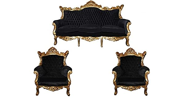 92df939a0e10 Casa-Padrino Baroque Living Room Set Master Black/Gold Mod2-3 seater sofa +  2 armchairs: Amazon.co.uk: Kitchen & Home