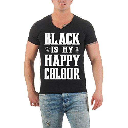 Männer und Herren T-Shirt BLACK is my happy colour Größe S - 8XL V-Neck schwarz