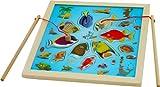 Toys of Wood Oxford Juego de pesca de madera - Juego de pesca de acertijo magnético, piezas de pez de juguete - Juego de mesa de pez de madera para niños de 3 años