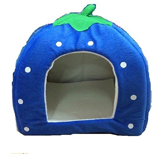 hundeinfo24.de Hengsong Hundehöhle Hundebett Katzenhöhle Hundehöhle Hundehütte Katzenbett Erdbeere Form Hundesofa (blau, L)