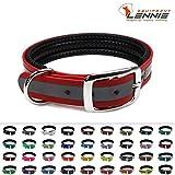 LENNIE BioThane Halsband, gepolstert, Dornschnalle, 25 mm breit, Größe 32-40 cm, Rot-Reflex, Aufdruck möglich